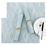 SueH Design 8 Stück Tischsets Platzsets Blau & Weiß Karo Waschbar Leicht zu Reinigen 45x30 cm