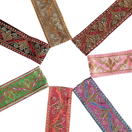 Neotrims Indian Style Embroidery Trimmings Ribbon by the Yard, Stylised Lotus Floral Pattern; Metallic Threads,Sequins and Bright Contrasts. Trimming used for Salwar Kameez & Sari Border for Suits and Dressmaking. Four Gorgeous colour Combos; Red, Black, Brown and Turquoise. Stunning. Magenta Salwar