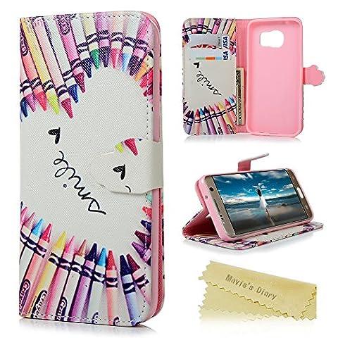 Mavis's Diary® Étui Samsung Galaxy S7 edge Housse Protection Crayon Dessin Coloré Housse Portefeuille Function Étui en Cuir Coque Phone Case