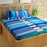 Story@Home Magic 152 TC Cotton Double Bedsheet With 2 Pillow Covers - White And Blue