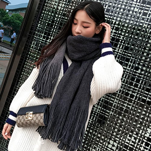 RENYZ.ZKHN Female student winter scarf all-match long scarf scarf shawl autumn winter double striped thick scarf and 60*210cm,Double-sided pure color black ash (Double-sided-match)
