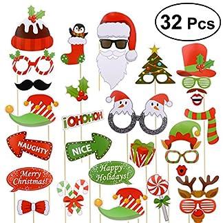 Accesorios Photocall Navidad Bodas Cumpleaños OULII 32 Piezas Gorros Máscara Gafas Disfraz Navidad