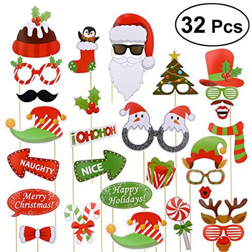 Weihnachten Photo Booth Requisiten Set OULII 32 Stücke Weihnachten Party Zubehör