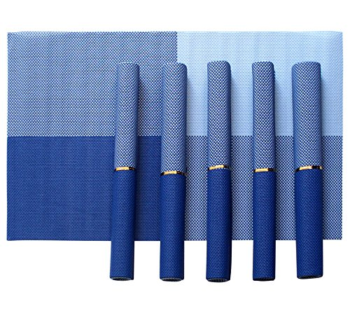 Tiedribbons&Reg; Pvc Placemats for Dining Table Set of 6 (30 cm X 45 cm)(Blue Quardruple)