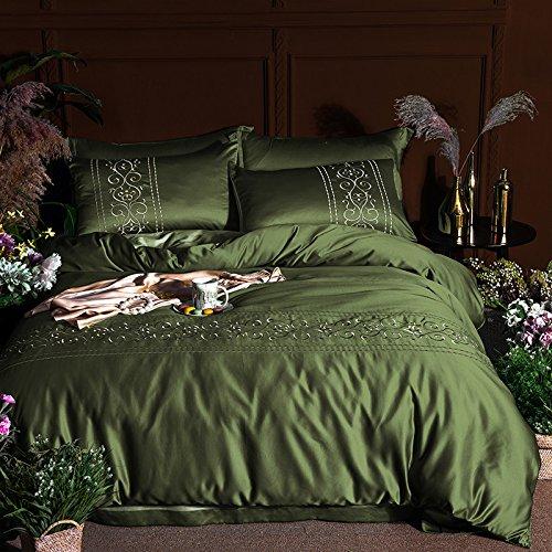 kele Vier stück Seide,Stickerei Volltonfarbe Baumwolle Bettbezug Bettwäsche Betten Einfache Baumwolle Hotel Wind Betten-A King (Hotel King Stickerei)
