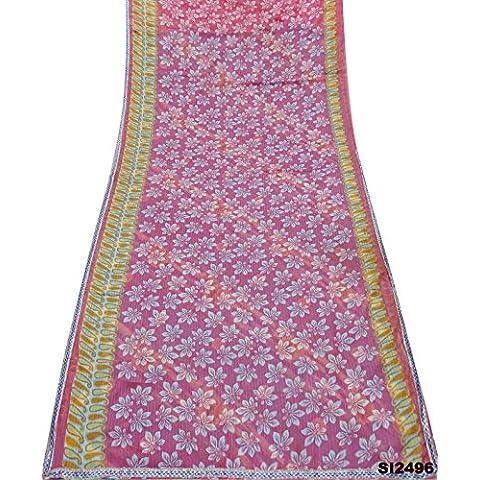 Impreso Vintage Sari indio Bollywood Diseño floral Decoración Color Rosa Wrap mezcla de seda sari 5YD