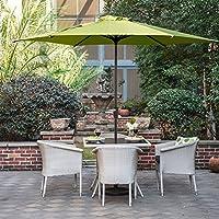 Grand Patio Sombrilla Terraza Patio Jardín Piscina Ø 270 cm Impermeable Protección Solar Parasol de Aluminio con Manivela Ventilación Superior, Color Verde