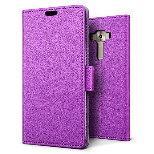 SLEO ASUS ZenFone 3 Deluxe (ZS550KL) Hülle, PU Leder Case Tasche Schutzhülle Flip Case Wallet im Bookstyle für ASUS ZenFone 3 Deluxe (ZS550KL) Cover - Lila