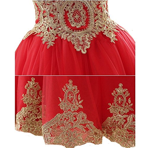 Izanoy Damen Blusenkleid Kurze Ballkleider Gold Applikationen Brautjungfer Kleid Rot