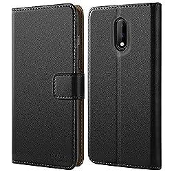 HOOMIL für OnePlus 7 Hülle, Premium PU Leder Handyhülle OnePlus 7 Case Flip Schutzhülle für OnePlus 7 Smartphone, Schwarz