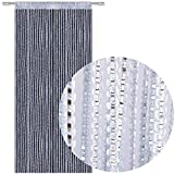 Bestlivings Fadengardine Türvorhang Fadenvorhang Metallikoptik mit Stangendurchzug, trendig schön in vielen erhältlich (90x250 cm/Silber - hellgrau)