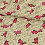 Stoffe Werning Baumwollstoff Dinos Steine beige Kinderstoffe - Preis Gilt für 0,5 Meter -