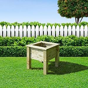 Manton erhöhte Holzpflanzengefäß, quadratisch,–mittel–grün–Heavy Duty–Druck behandelt.