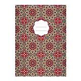 Kartenkaufrausch 1 Grafisches Ethno DIN A4 Schulheft, Schreibhefte mit Sternen Muster im Boho Stil in rot Lineatur 21 (liniertes Heft)