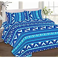 IBed Home Printed Bedsheets 3 Pieces Bedding Set - KingSize, EAT-4498-TARQUISH (Turquoise)
