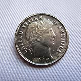 Bespoke Souvenirs Rare Antique USA United States Barber Dime 1916 D Dates Silver Color Dollar Coin