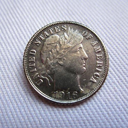 bespok Souvenirs seltenes Antikes USA United States Barber Dime 1916D Daten Silber Dollar Münze -