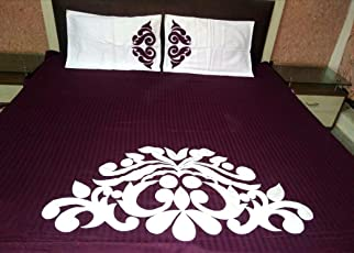 Traditional Designed PATCHWORKED BEDCOVER with Two Pillow Covers King Size Wine Color TC 500 Above