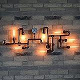 Crayom Weinlese industrielle Retro Wasser-Rohr 8 Köpfe Wand-Licht-Befestigung Metall-Loft Antike Wand-Lampe Edison Druckanzeiger Rohr-Wand Dekorative Scheune Garage-Villa Leuchten Beleuchtung Leuchte