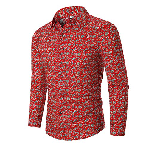 DNOQN Langarm Polo Herren Stylische T Shirts Herren Herbst Ethnic Business Leisure Drucken Langarm Shirt Top Bluse L