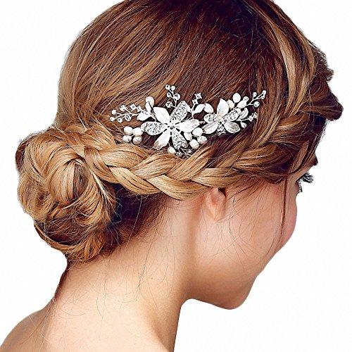Miya 1Stück MEGA Glamour Braut Kamm Steckkamm Haarkamm mit wunderschöner silber Blumen Blüte, dekoriert mit Perle und Kristallen, Braut Schmuck Hochzeit...