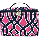 Navy & Pink Geometric Vine Pattern Print Ngil Cosmetic Case