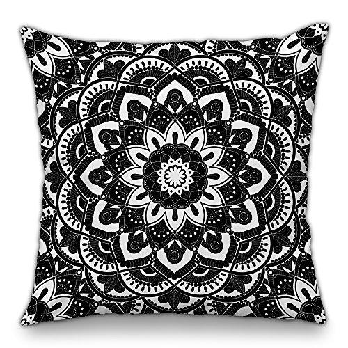 Moyun Schwarz & Weiß Mandala Serie Boho Hippie Indisch Dekorativ Kissenbezüge Blumen Kissenbezug Sofa Stuhl Dekor 18'...