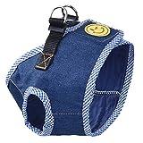 petacc Zarte Pet Hundegeschirr und Leine Set strapazierfähige Hund Leine Geschirr Set atmungsaktives Pet Geschirr Set mit Cowboy Stil, geeignet für kleine Haustiere, dunkelblau