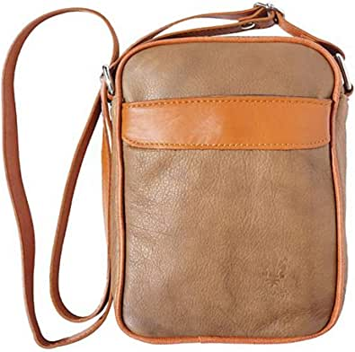 FLORENCE LEATHER MARKET Borsello a tracolla tortora e cuoio in pelle Uomo 15x5x21 cm - Made in Italy