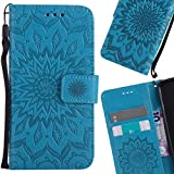 LEMORRY Huawei Honor Holly 3 / Y6 II Case Leather Flip Wallet Pouch Slim Fit Bumper Protection Magnetic Strap Stand Card Slot Soft TPU Cover for Huawei Y6 II, Blühen Blau