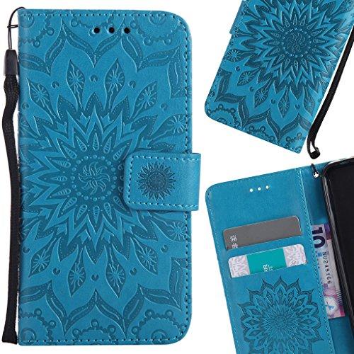LEMORRY Samsung Galaxy J3 (2017) Custodia Pelle Cuoio Flip Portafoglio Borsa Sottile Bumper Protettivo Magnetico Morbido Silicone TPU Cover Custodia per Galaxy J3 (2017), Fiorire Blu Blu