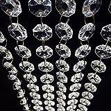 Tookie Vorhang Kristall Perlen, Tür Vorhang Kristall Girlande Klar Glas Perlen Kette String Vorhang Panel für Door Wohnzimmer Hochzeit Party Weihnachtsbaumschmuck, Transparentweiß, 1 m