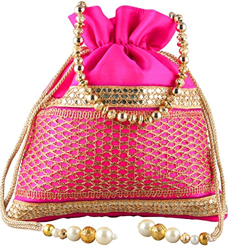Bombay Haat Ethnic Rajasthani Potli Bag / Potli Purse / Bridal Clutch/ Bridal Purse for Patry / Wedding / Wedding Gift ( Pink )  available at amazon for Rs.299