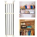 BAOYOUNI Tension Shelf Expandable Clothes Closet Organizer Rack Adjustable DIY Wardrobe Dividers Separator Ivory