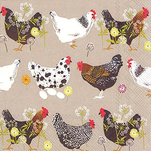 �Zählen Dampfender Hühner Leinen Papier Cocktail Servietten ()