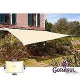 Corasol COR11RE6X4-CW Premium Sonnensegel 6 x 4 m, rechteckig, wasserabweisend, cremeweiß