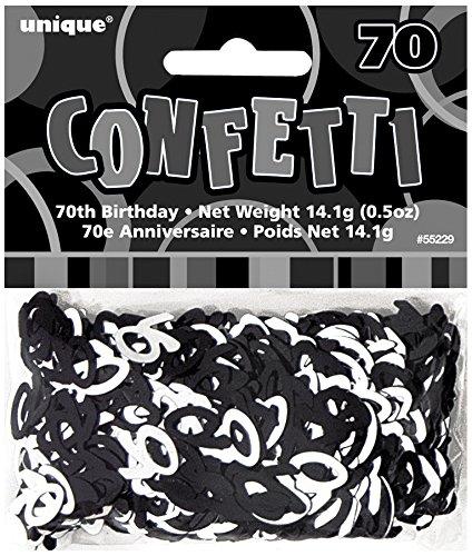 Unique Party Confetti metálico de 70 cumpleaños, Color Negro Brillante (55229)