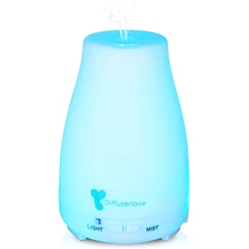 Diffuserlove 220ML Mist Humidifiers Essential Oil Diffuser Ultrasonic Aromatherapy Diffuser with 7 Color LED Lights and Waterless Auto Shut-Off for Bedroom Office Kids Room Kitchen
