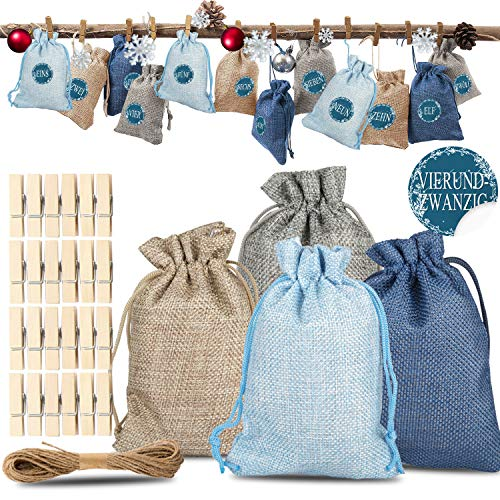 Xpassion Geschenksäckchen, Stoffsäckchen, Adventskalender zum Befüllen, Judebeutel, Weihnachtskalender mit Stickern zum zum Selberfüllen, Gestalten & Basteln - wiederverwendbar