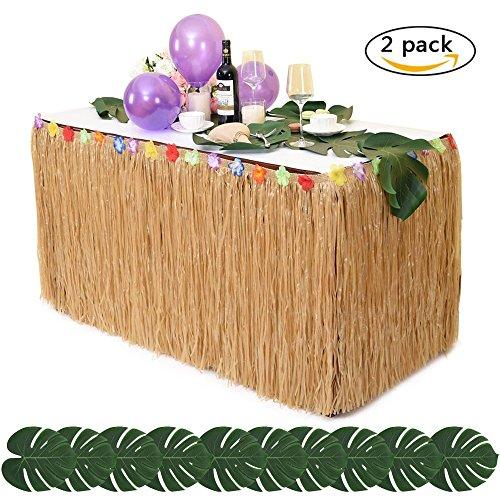 Hawaii Luau Tischrock + Tropical Palm Blätter Simulation Blatt Tropischen Hula Hawaiian Grass Tisch Rock Tischdeko Tischdekoration Tischdecke für Hochzeit Geburtstag BBQ Garten Strand Strand Sommer Garten Party LONGBLE