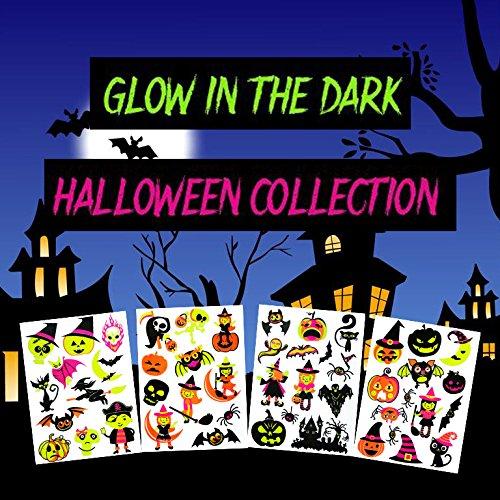 COKOHAPPY 50+ Sortiert Leuchtend Temporäre Tattoo LEUCHTEN IM DUNKELN Halloween Kostüm Party Geist Kürbis Spinne Fledermäuse - 4 Blätter