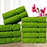 #1: Story@Home Solid 10 Piece 450 GSM Cotton Face Towel Set - Green