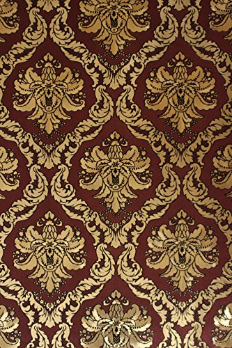 Vinyltapete Tapete Barock Retro # rot/gold/schwarz # Fujia Decoration # 22911 (Schwarz Gold Tapeten)