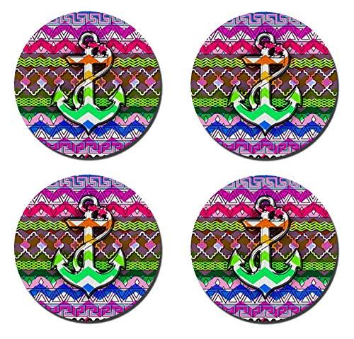 (luxcase Colorful Muster und Chevron und Anker Creative rund Kork Pad Matte Tischset Tisch oder in der Küche Heat Mat 4-teilig)