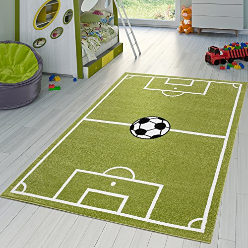 Kinder Teppich Fussball Spielen Kinderzimmerteppiche Fussballplatz in Grün Creme, Größe:120x170 cm