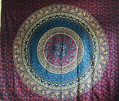 "Reina India rojo turquesa Ombre diseño psicodélico tapiz colgar en la pared mandala manta Hippie gitana cubierta de flores dormitorio deco 100% algodón 92""X 84"""