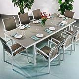 Beatrice Tisch mit 8 Georgia Stühlen - WEIß & CHAMPAGNERFARBEN | großer ausziehbarer Esstisch 240cm