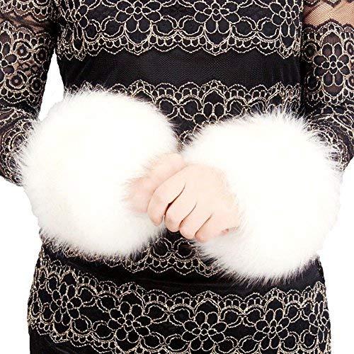 Fell Stulpen Pulswärmer Faux Pelz Armstulpen Faux Fur Wrist Band Ring Cuffs Wärmer für Frauen (Weiß)