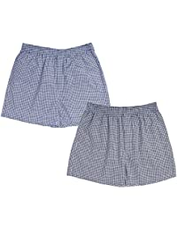 Nuovi Mens Cotton Satin Navy Blue And Black Checkered Boxers (Pack Of 2)