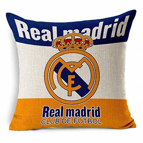 e-sunshiner ® Dicke Baumwolle Blend Leinen Quadratisch Überwurf Kissen Bezug Dekorative Kissen Fall Kissen Fall 45,7x 45,7cm/45x 45cm, New Football Club Badge, Textil, beige, Real Madrid -